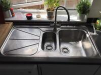 FRANKE stainless steel sink and a half with drainer.
