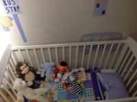 Mamas and Papas White Cot and Baby Changing Unit