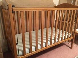 Mamas and Papas Cot with Mattress, Adjustable Dropping Side, Excellent Condition