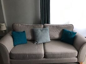 2 Gorgeous 3 seater sofa x 2 and matching chair. Oatmeal/ beige