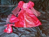 FANCY DRESS - GIRLS BHS MEDIEVAL STYLE PRINCESS DRESS AND HAT 6-8 YEARS WITH MATCHING DOLLS DRESS