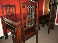 dining table dark solid wood 6 foot x 4 chairs