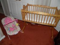Baby Crib and bouncer