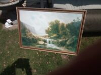 Large framed glass front print, countryside scene