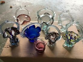 Collection of Italian Decorative Glass Baskets
