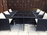Hand-Woven Rattan Effect Cube 6 Seater Patio Set - Black