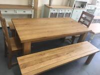 Farmhouse solid oak dining table