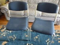 two blue chairs with lovely crome legs , quality chairs ,in very good condition,only £7. each chair.