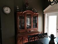 Antique dining table with cabinet