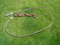 HEAVY DUTY STEEL CABLE WITH EYES AND CHAIN FOR TOWING OR LIFTING.