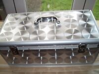 Aluminium C D case with 195 double wallets for sale