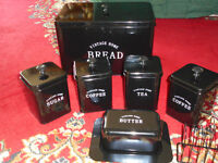 vintage style /black canister set with butter dish , toast rack, bread bin [7 items]