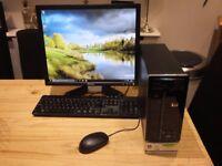 "Win 10 pro 64 bit, intel core 2 duo e4700 3gb ram, wireless, 19"" flatscreen mon, keyboard, mouse,"