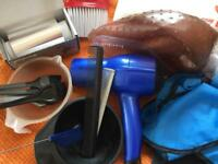 Hairdryer streaking cap ,Foil mesh, Cutting collor,Tinting bowls and brushesAnd Combs