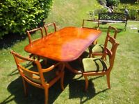 YEW dining table & 6 chairs (inc. 2 carver chairs)