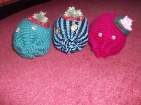 3 Hand Knitted Wild but Very Cute Haggis with Tartan Tammy Hats