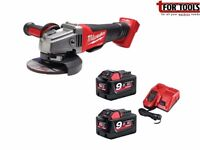 Milwaukee FUEL Brushless 115mm Cordless Grinder & 2x 9.0Ah Battery M18CAG115XP