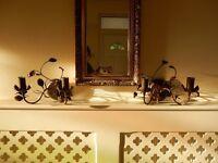 2 x Double Wall Light Dark Bronze Effect Leaf Swirl Hallway Dining Room Living Room