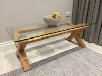 Coffee and side table set - solid oak and glass