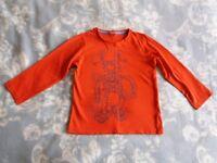 Long Sleeve Tee-Shirt Top Red Nearly New Boy 5-6 years
