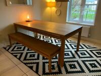 Habitat Solid Oak Table with a Bench