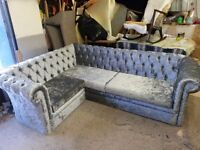 brand new silver crushed velvet chesterfield corner suite