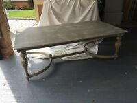 Large light grey shabby chic style coffee table