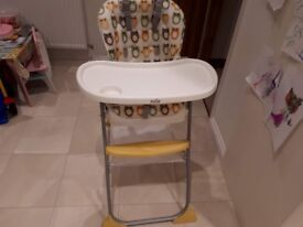 Joie Owls Reclinable High Chair - Used, Good Condition. £15