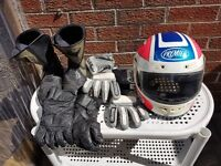 Motorbike helmet, boots and gloves