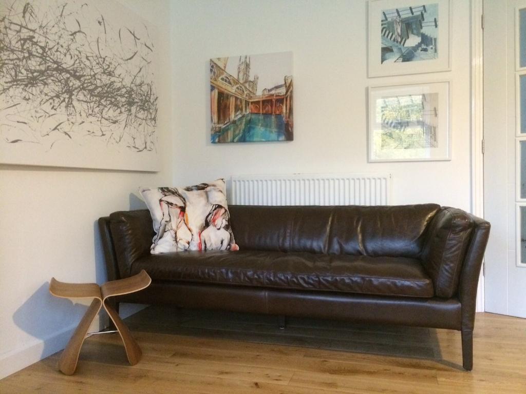 John Lewis 3 seater brown leather sofa