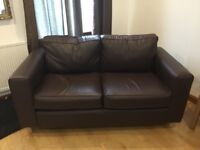 Faux leather brown 2 seater sofa