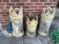3 x crown top chimney pots