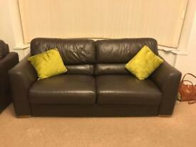 BROWN LEATHER 3 SEATER SOFA 210CM FROM SCS SLIGHT DEFECT SEATING *BARGAIN*