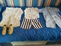 Unisex spanish clothes 3 sets and size 27 beige paint leather boots by pretty originals