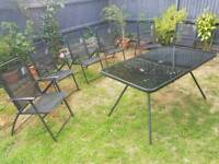 Garden Table with 6 chairs (black) plus umbrella