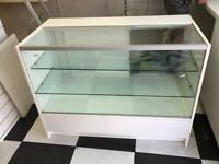 L shaped glass display desk unit