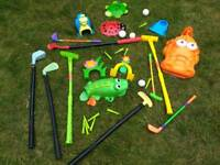 Various mini golf equipment