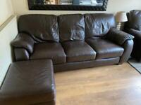 Brown leather 3 seater sofa, recliner chair & pouf