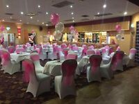 WHITE CHAIR COVERS AND COLOURED BOWS..CHEAPER THAN THE REST