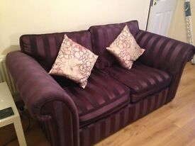 Two 2 seater fabric settees purple - with cushions