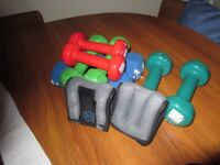 Dumbells, 8 of various weights and 2 hand/wrist weights