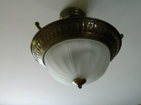 Metal lamp with glass shade