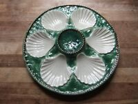 FRENCH MAJOLICA OYSTER PLATES RARE 1930'S HAND PAINTED MADE IN FRANCE BY LONGCHAMP IN GOOD CONDITION