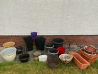 Selection of plant pots, tubs, baskets. ALL SOLD.
