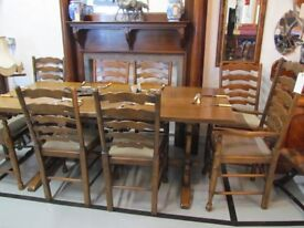 Titchmarsh & Goodwin Solid Oak Refectory Table plus 8 Oak chairs including 2 carvers