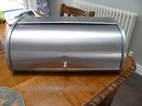 Large stainless steel bread bin in good condition.