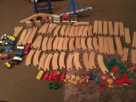 Wooden train set compatable with brio elc and thomas