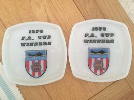 SUNDERLAND (SAFC) 1973 F.A. CUP WINNERS SOUVENIR DISHES / ASHTRAYS