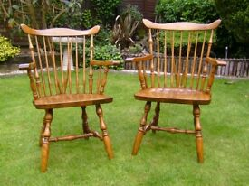Pair of Ercol style farmhouse carver chairs