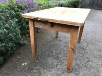 Vintage pine table with drawer